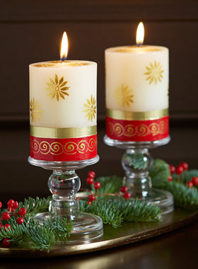 Festive Sun Hand-painted Pillar Candle