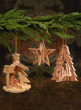 Olive Wood Nativity Ornaments - Set of 3