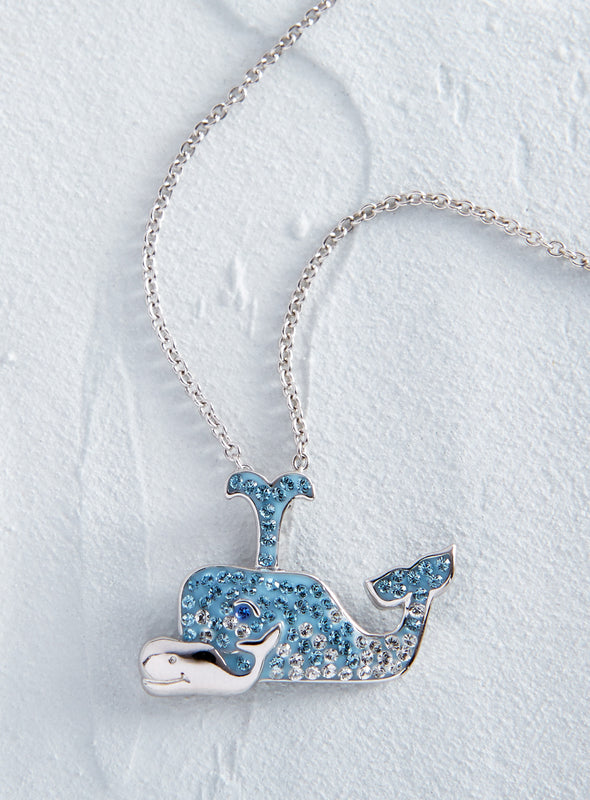 Whale Family Crystal Necklace