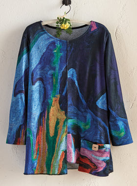 Impressionist Skies A-line Pocket Top