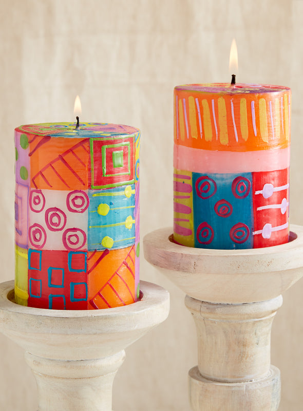 Spark of Color Hand-painted Pillar Candles
