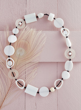 High Impact Modernist Necklace - White