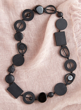 High Impact Modernist Necklace -  Black