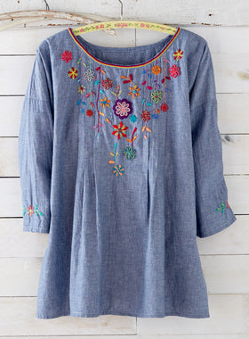 Chambray Garden Embroidered Tunic