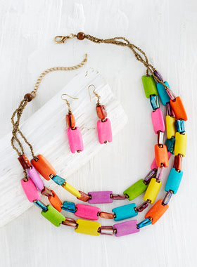 Tropical Tile Necklace and Earrings Set