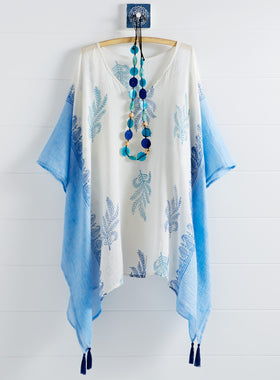 Hand-printed Fern Cotton Caftan Top