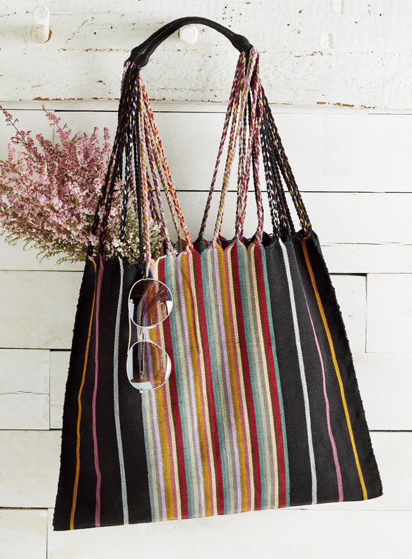 Stripes and Twists Cotton Tote