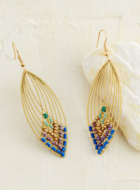 Bejeweled Feather Guatemalan Earrings