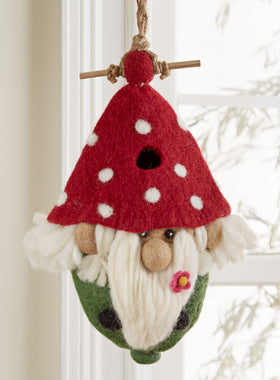 Gnome Home Hand-Felted Birdhouse