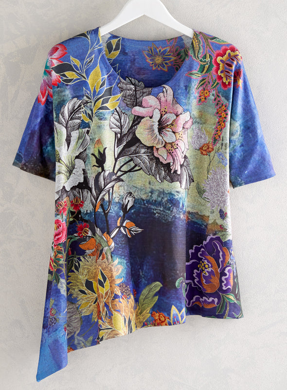 Night Blossoms Short-Sleeved Tunic