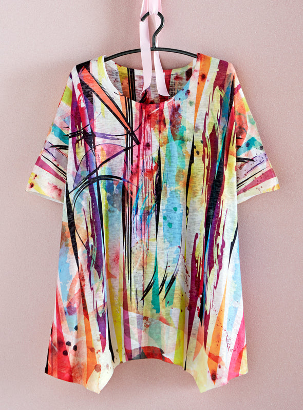 Color Wash Short-Sleeved Tunic