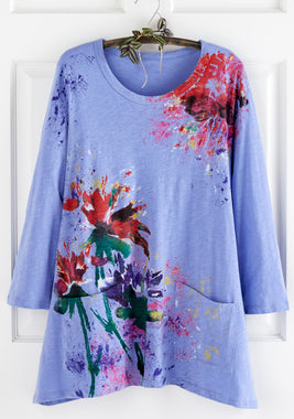 Floral Art Long-Sleeved Tunic