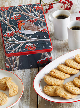 Christmas Robin Biscuit Tin
