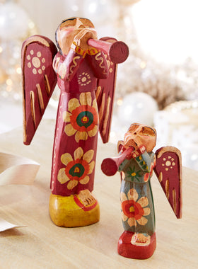 Floral Folk Art Angels - Set of Both