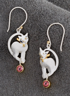 Think Pink Kitten Earrings