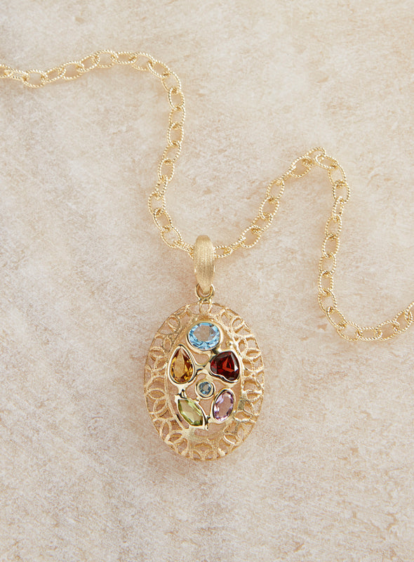 Italian 14-Karat Gold Faceted Gemstone Necklace