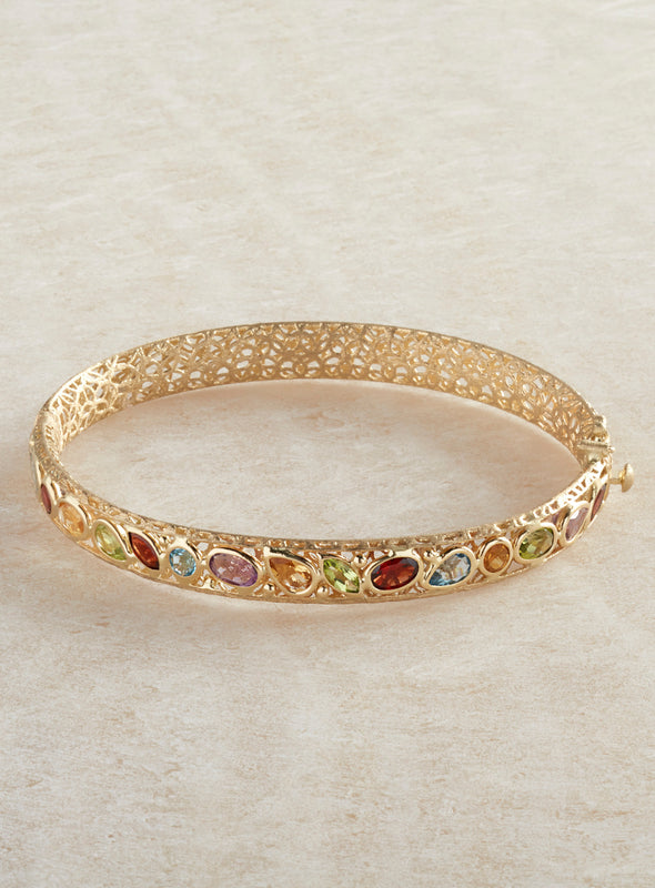 Italian 14-Karat Gold Faceted Gemstone Bracelet
