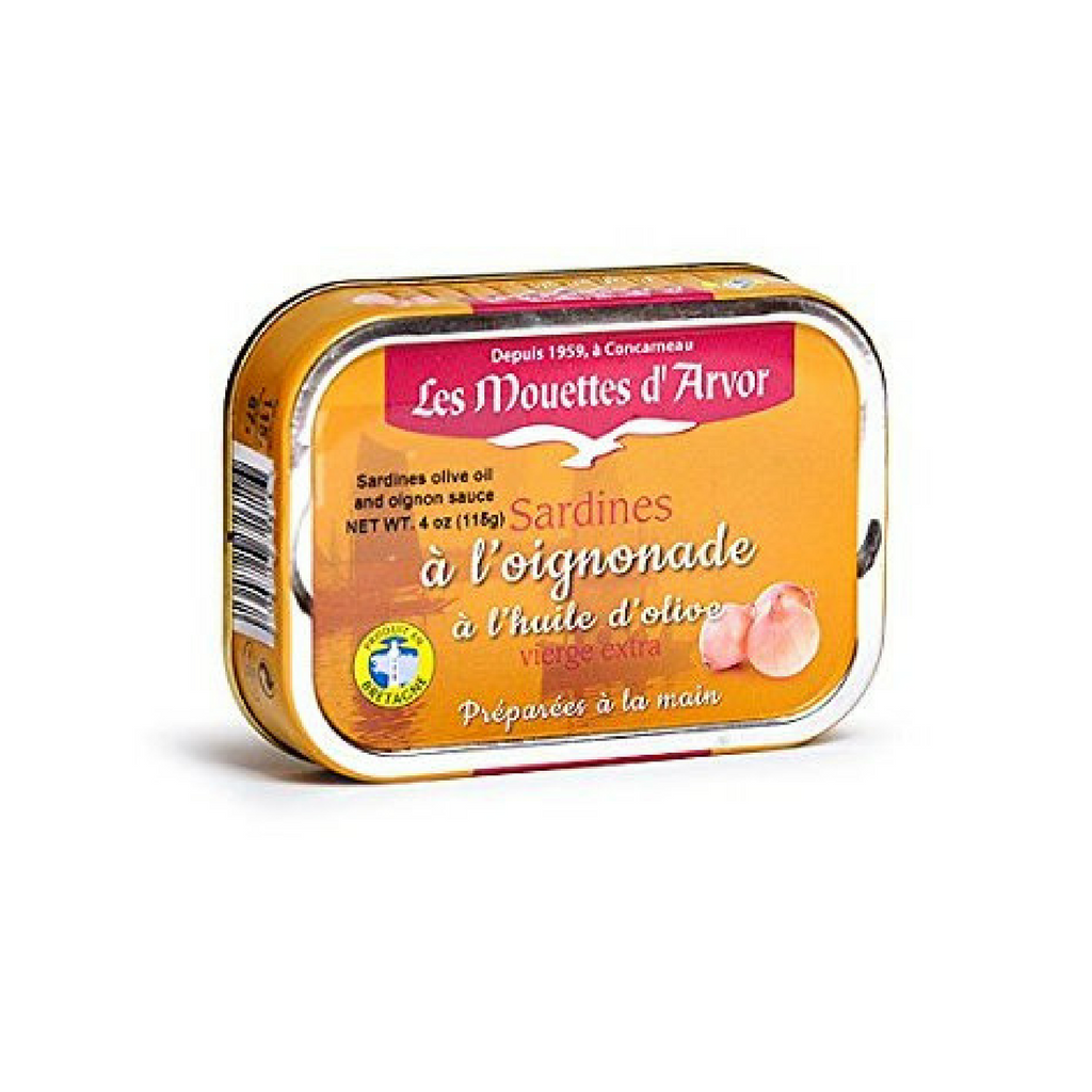 Mouettes d'Arvor Sardines with Extra Virgin Olive Oil and Onion Sauce 4 oz-Mouettes d'Arvor-Le Tablier Bleu | Online French Supermaket