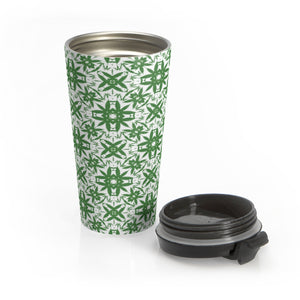 Psychedelic Green Shapes Stainless Steel Travel Mug