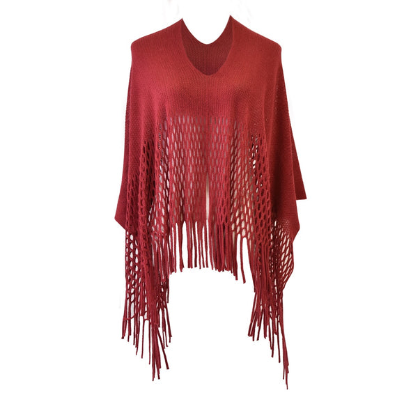 Urb Style Knitted Fringe Poncho