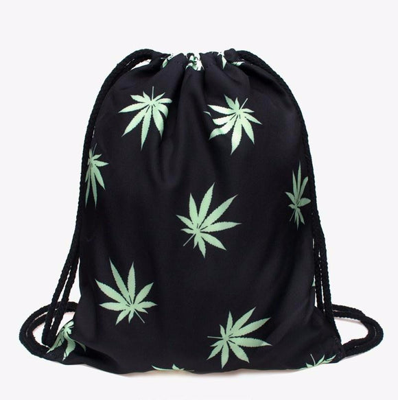 3D Weed Leaf Print Travel Draw String Bag