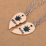 2pc/set Gold Plated Weed Leaf Loving Heart