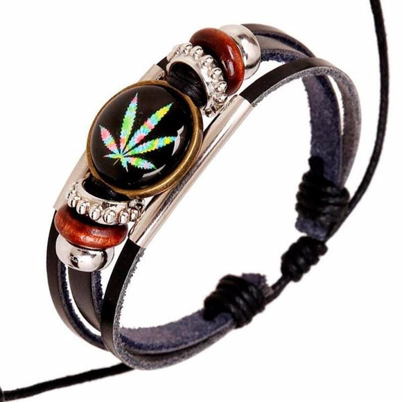Leaf Leather Bead Bracelet