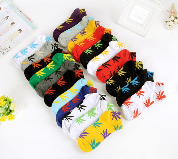 Multi-Colored Rasta Leaf Socks
