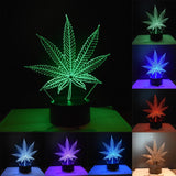 3D Cannabis Leaves Art Lights Colorful Touch LED Visual Decoration Atmosphere Lamp