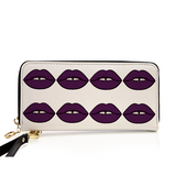 Ganja Girl Purple Lips Zip Around Wallet