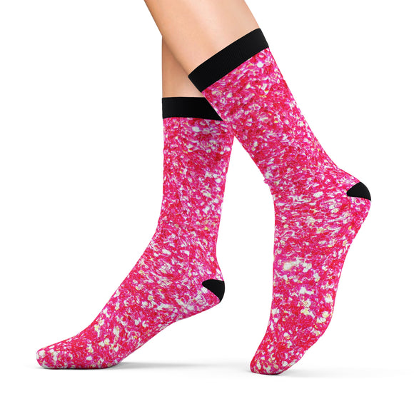Hot Pink Crystal Socks