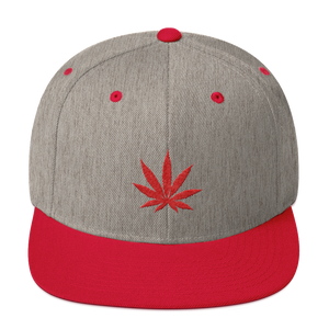Heather Grey & Red Snapback Hat