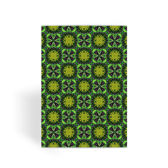 Green Leafs Psychedelic Greeting Card