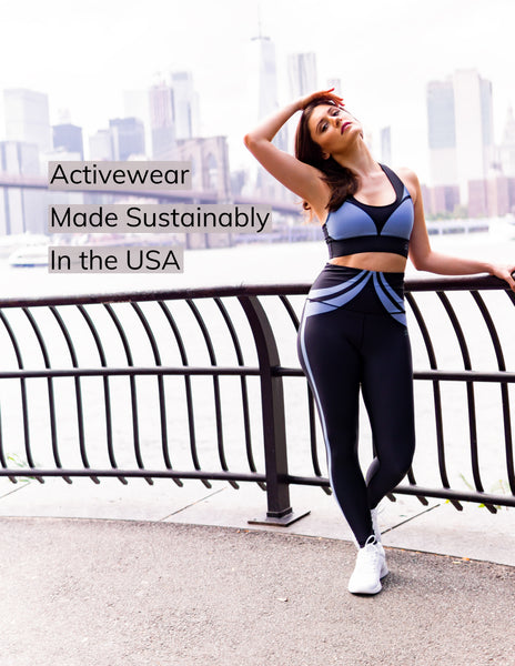 Sustainable activewear made in the usa sports bra and high waist yoga leggings in color blue and black on fitness model