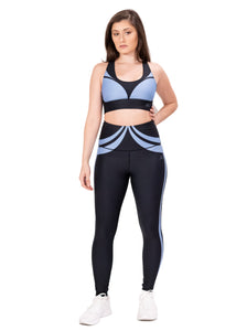 Activewear outfit with a base color black with a blue design over it, it includes sports bra and high waist leggings