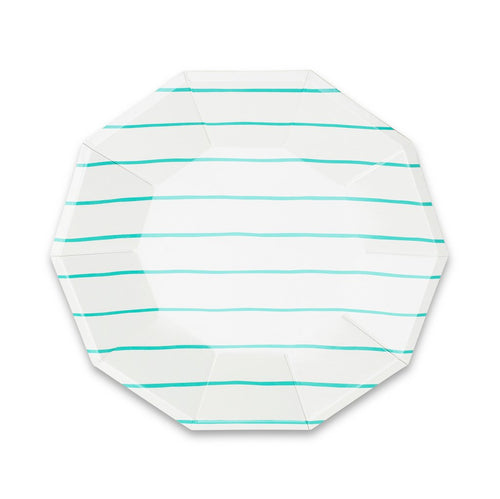 Frenchie Striped Large Plates - Aqua