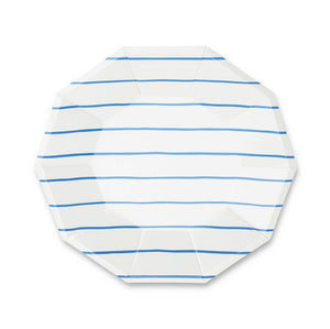 Frenchie Striped Large Plates - Cobalt Blue