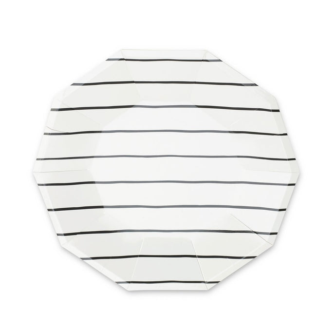 Frenchie Striped Large Plates - Black