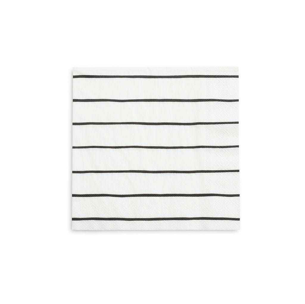 Frenchie Striped Napkins - Black