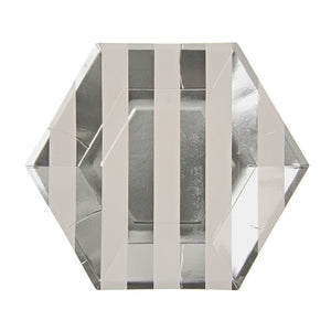 Silver stripe hexagon plates