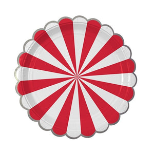 Red striped pinwheel large plates