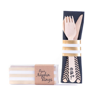Gold stripe napkin rings