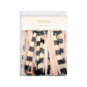 Pink, Black and White Tassel Banner