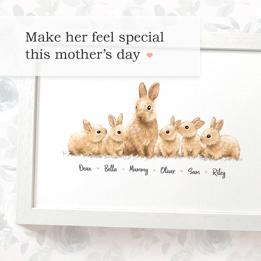 The most adorable Mother's Day gift - Bunny Print with Mother and Children