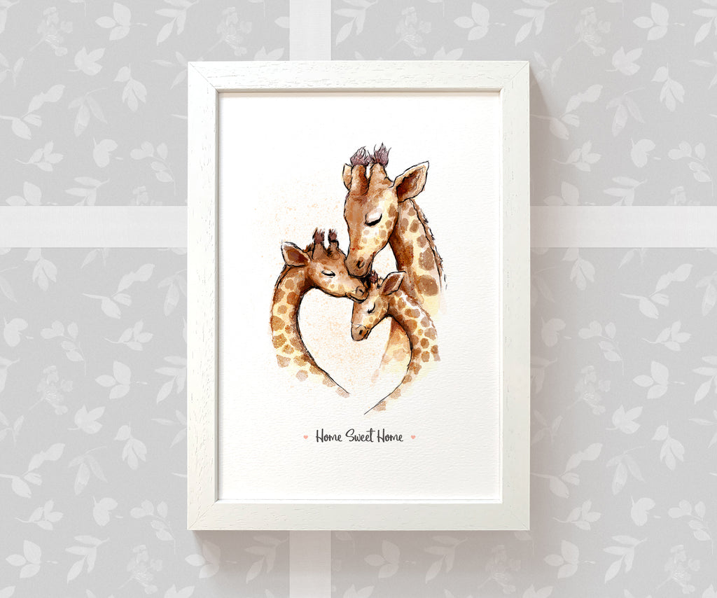 White Wood Framed Giraffe Art Print