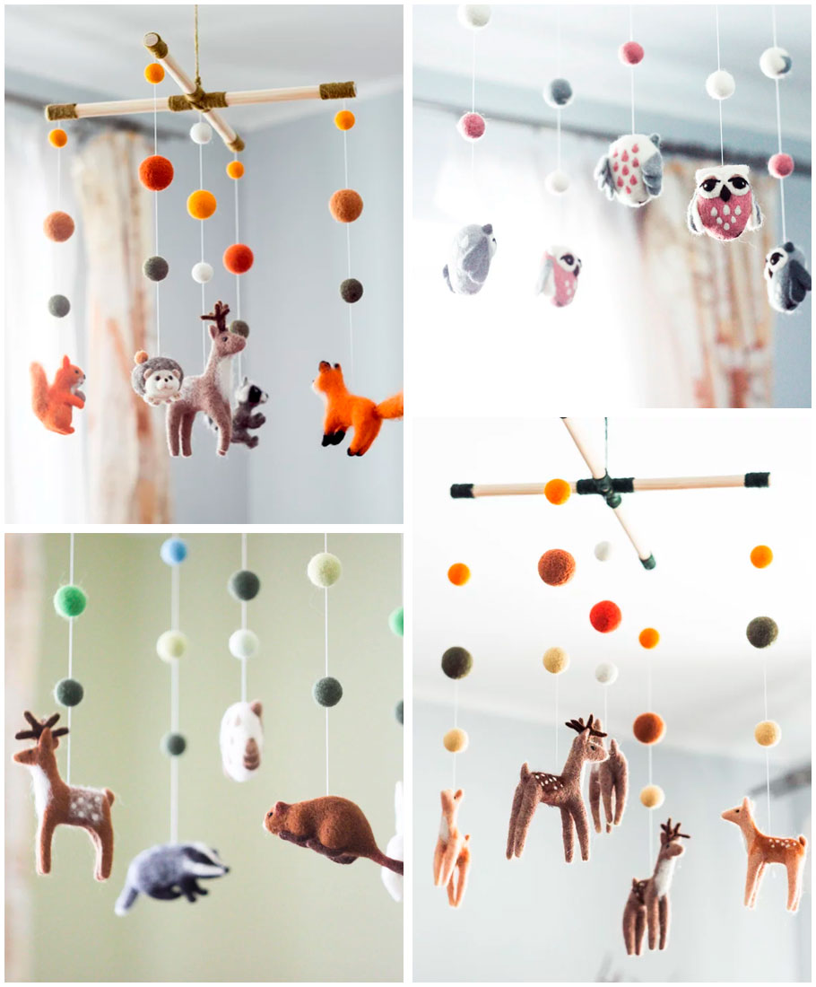Needle felt animal mobiles for the nursery by Woolen Tenderness