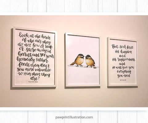 Twin chickadee nursery wall display