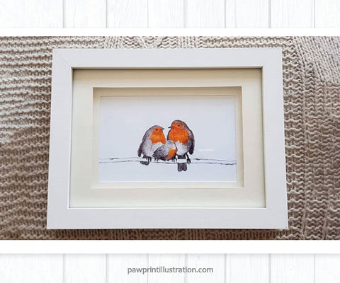 Family of Three Robins framed art print
