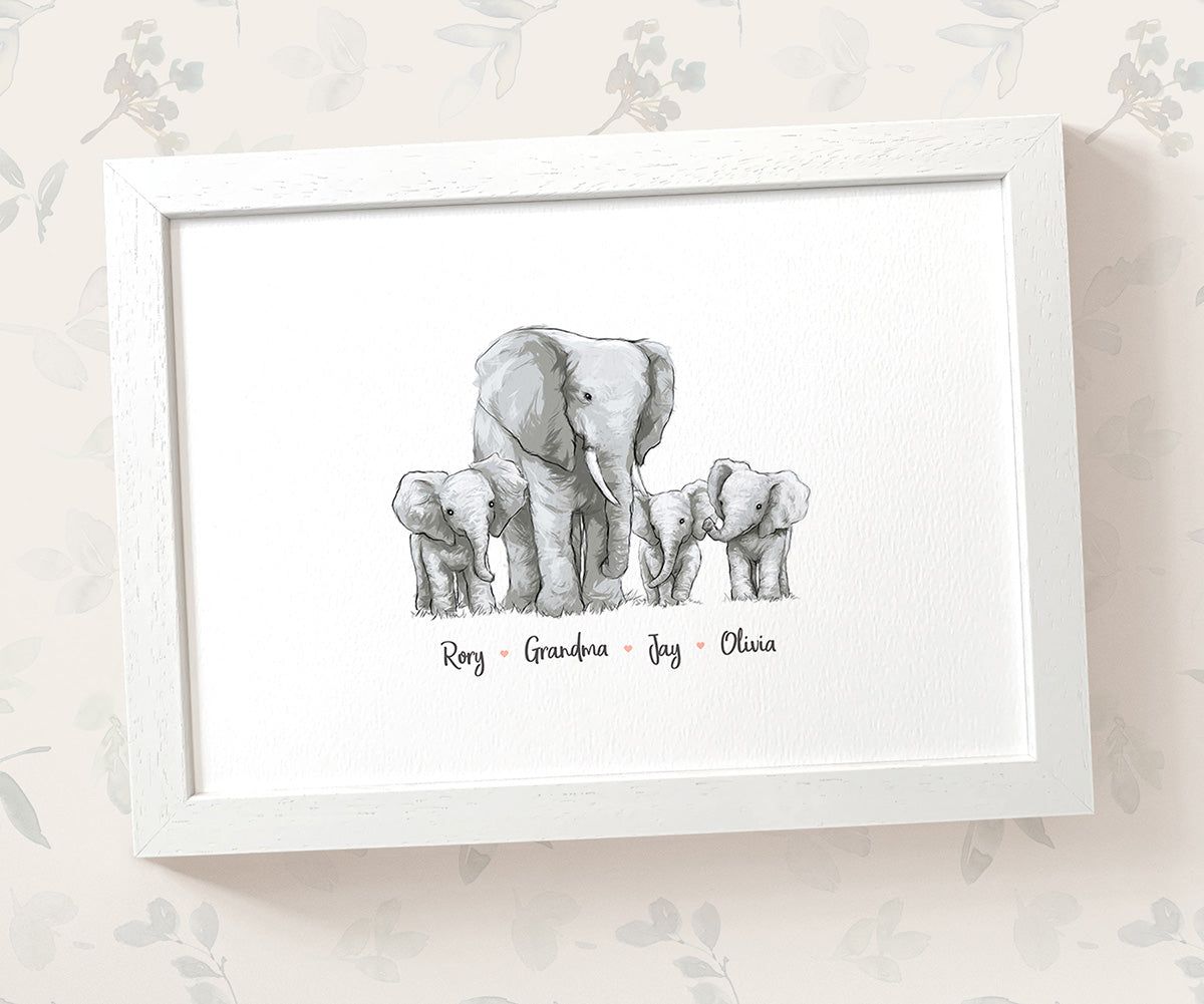 Personalised Elephant Family Portrait with Names