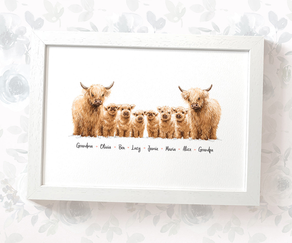 Personalised Highland Family Portrait with Names